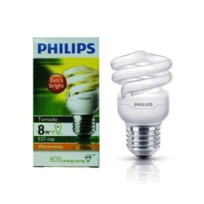 Lampu Tornado E27 8W Philips Putih